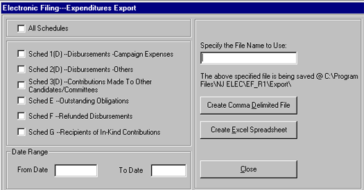 Electronic Filing - Expenditures Export